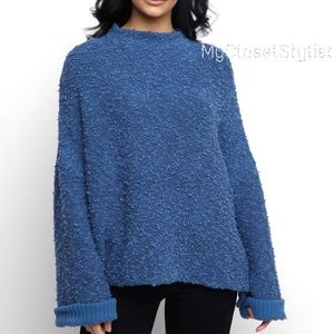 Free People CHUNKY KNIT mock blue sweater NWT XS ❤